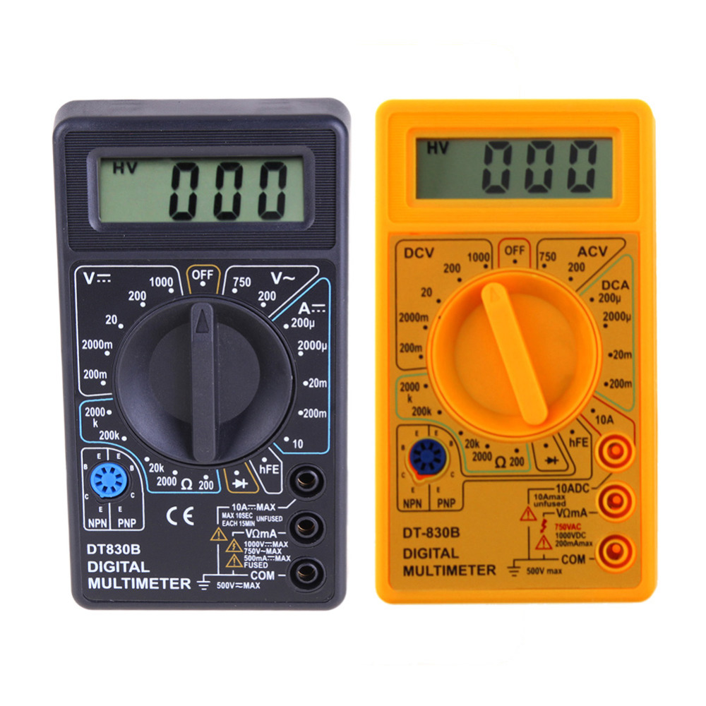 Mini Digital Multimeter DT-830B AC/DC 750/1000V Auto Auto Range Digital Voltmeter Ohm Meter Tester Multimeter Yellow Black Color