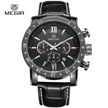 Megir 3008 fashion quartz watches men waterproof wrist watch luxury brand genuine leather strap military watch