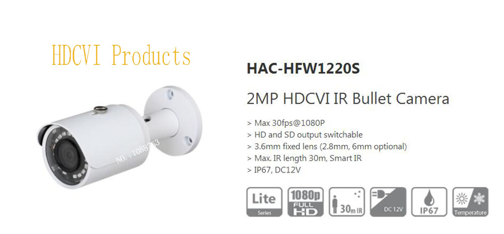 Free Shipping DAHUA Original English Security Camera CCTV 2M 1080P Water-proof HDCVI IR Bullet Camera without Logo HAC-HFW1220S