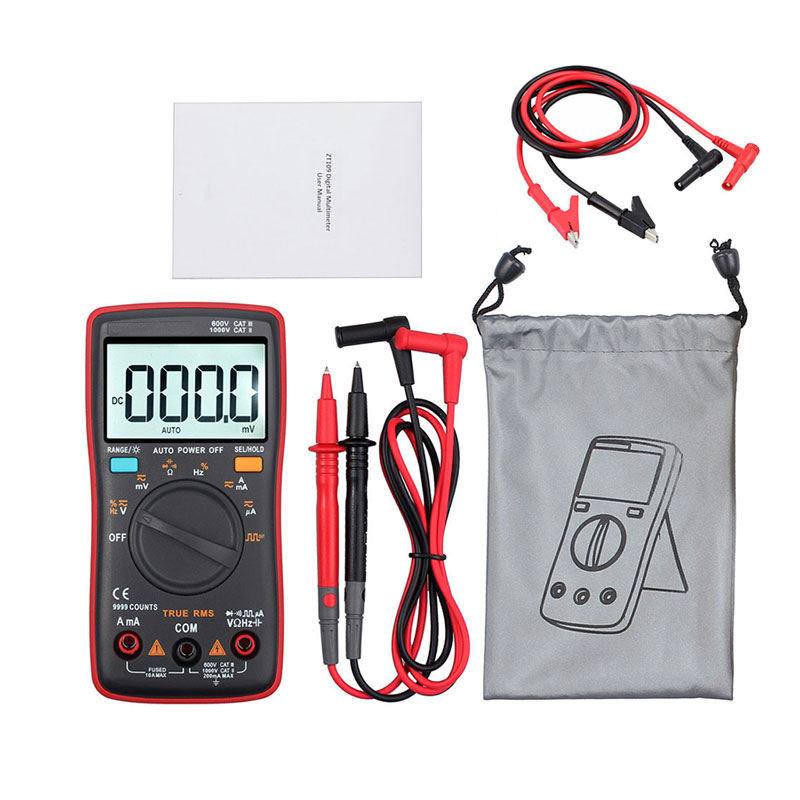 Digital Multimeter 9999 Counts TRMS Auto Range With Backlight AC/DC Voltage Frequency CAT III 600V Tester 550V Over Load Protect