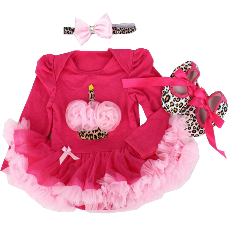 Birthday Cake Headband Romper Dress Crib Shoes Long Sleeve 2017 New Born Tutu Set Baby Newborn Baby Girl Clothes Infant Clothing baby girls infant love applique tutu set baby lace romper dress crib shoes headband 3 piece newborn baby girl clothing set bebe