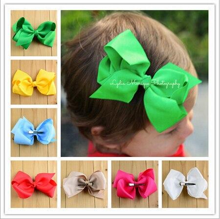 7b28526fe322 Lo nuevo de moda cinta de raso sólido bowknots TIE decoración niñas  headwear clamp aleación duckbill clip DIY ropa accesorios del pelo