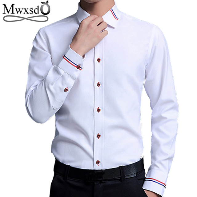 c2f8248397d Top Quality Mwxsd brand Mens Dress cotton Shirt men Slim Fit Long Sleeve  wedding shirt male casual business white chemise homme