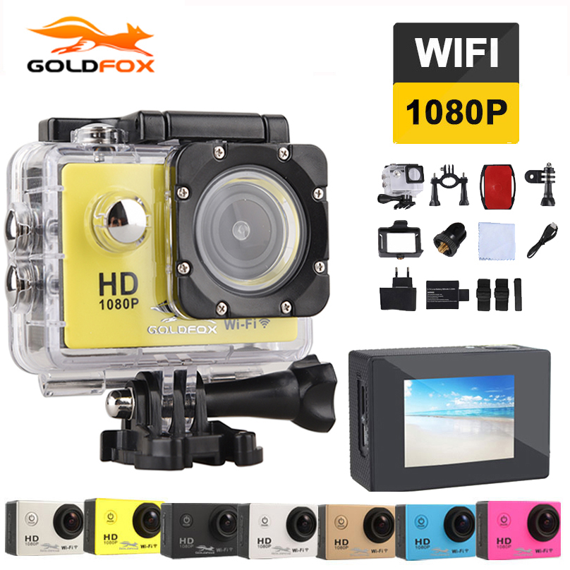 цена на Wifi Camera Sports DV Video Camera 2 inch Full HD 1080P 12MP 170 degree Wide-angle Camera Camcorder 30M Waterproof Car camcorder