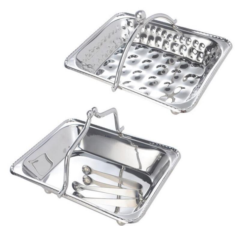 Stainless steel towel basket portable hot towel basket hotel KTV room towel tray towel dish