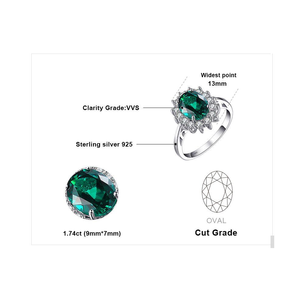 Jewelrypalace Princess Diana Qadınlar üçün İncə 925 Sterling - Gözəl zərgərlik - Fotoqrafiya 5