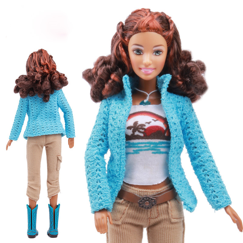 Original Brown Skin Curly Hair Doll / Cow Boy Style Blue Sweater Gray Pants Boots Outfit Accessories / For Barbie Doll Gift barbie hair 3 3bundles