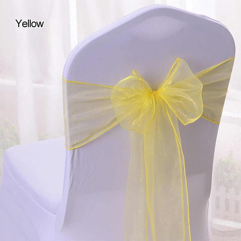 "25PC Turquoise Chair Sashes 7 ""x 108"" 깎아 지른 Organza 패브릭 헝겊 리본 결혼식 장소 장식 이벤트 파티 Suppiler Chair Bow ties"