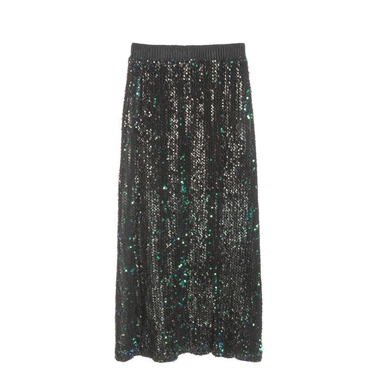 SexeMara High Quality Women's skirts BlingBling Sequined Sparkling Long Skirt High Waist Elastic Pleated Skirt faldas mujer high quality skirt