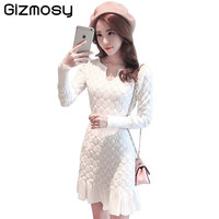 New Spring Sexy Long Sleeve Dress Women Party Slim Fit Package Hip Hedging Knitted Sweaters Dresses Female Vintage Dress SY059