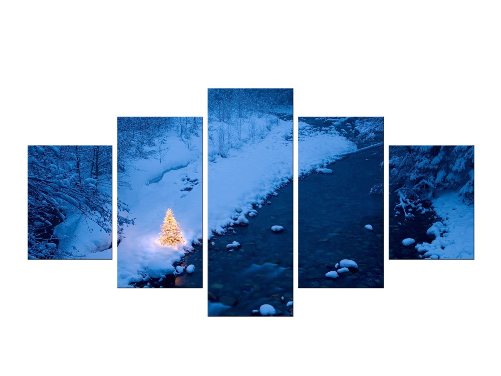 5 Pièces Montagnes Enneigées Nuageux Ciel Montagne De Neige Panneau Peintures Moderne Paysage Photos Photo Impressions Sur Toile Encadrée