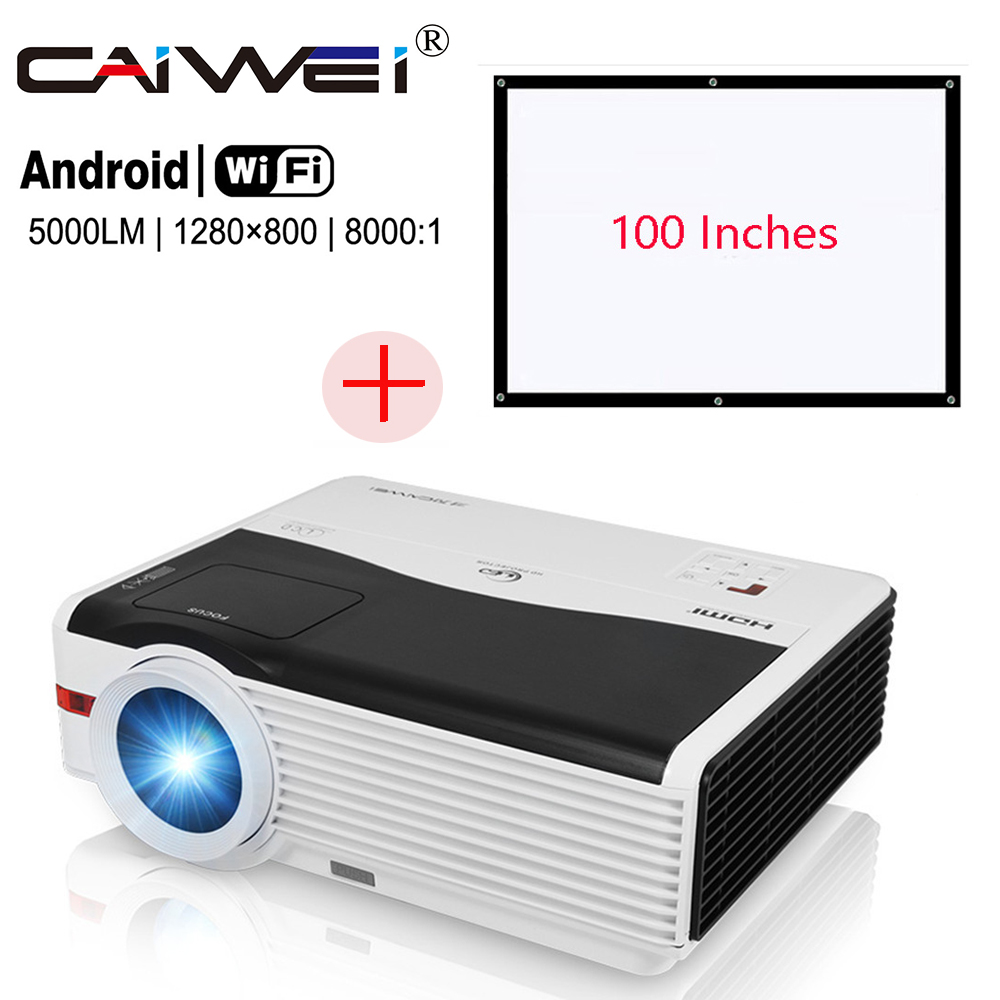 5000lm Home Projector+100'' Projection Screen Set LED Android Wifi 1080p HD Movie TV Proyector Beamer HDMI USB VGA AV все цены