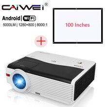 "5000lm домашний проектор + 100 ""проекция Экран набор LED Android Wi-Fi 1080 P HD Movie ТВ proyector HDMI USB VGA AV"