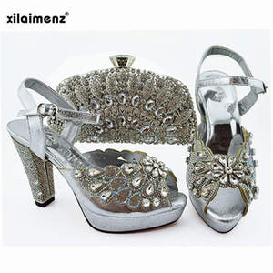 Image 5 - 2019 新ピーチ色ファッションラインストーン女性の靴とマッチングバッグセットアフリカスタイルは靴やバッグセットにパーティー