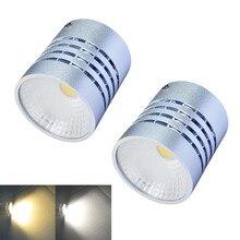 Jiawen 2pcs/lot  3200K/6500K 1-COB White/warm whte light Round Ceiling Light – silver (AC 85~265V)
