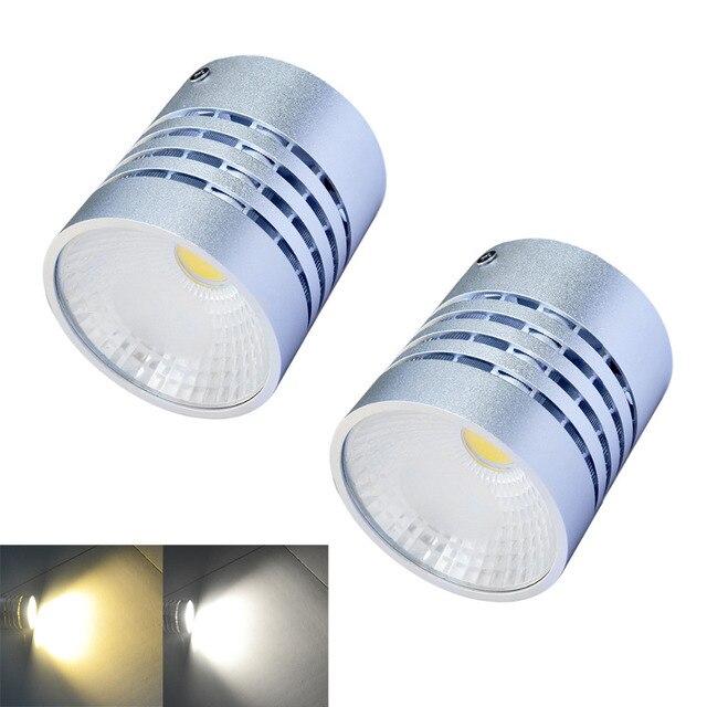 Jiawen 2pcs/lot  3200K/6500K 1-COB White/warm whte light Round Ceiling Light - silver (AC 85~265V)
