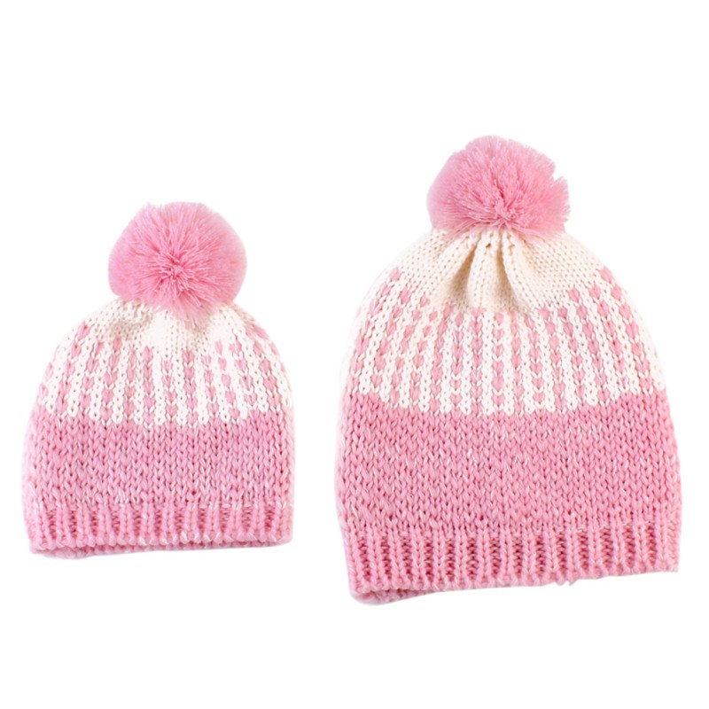 b7f8bf69d3f 2Pcs Cute Mother and Baby Crochet Hats Toddler Kids Boys Girls Knitted  Beanie Hat Children Adult Winter Warm Fur Pompon Caps-in Hats   Caps from  Mother ...