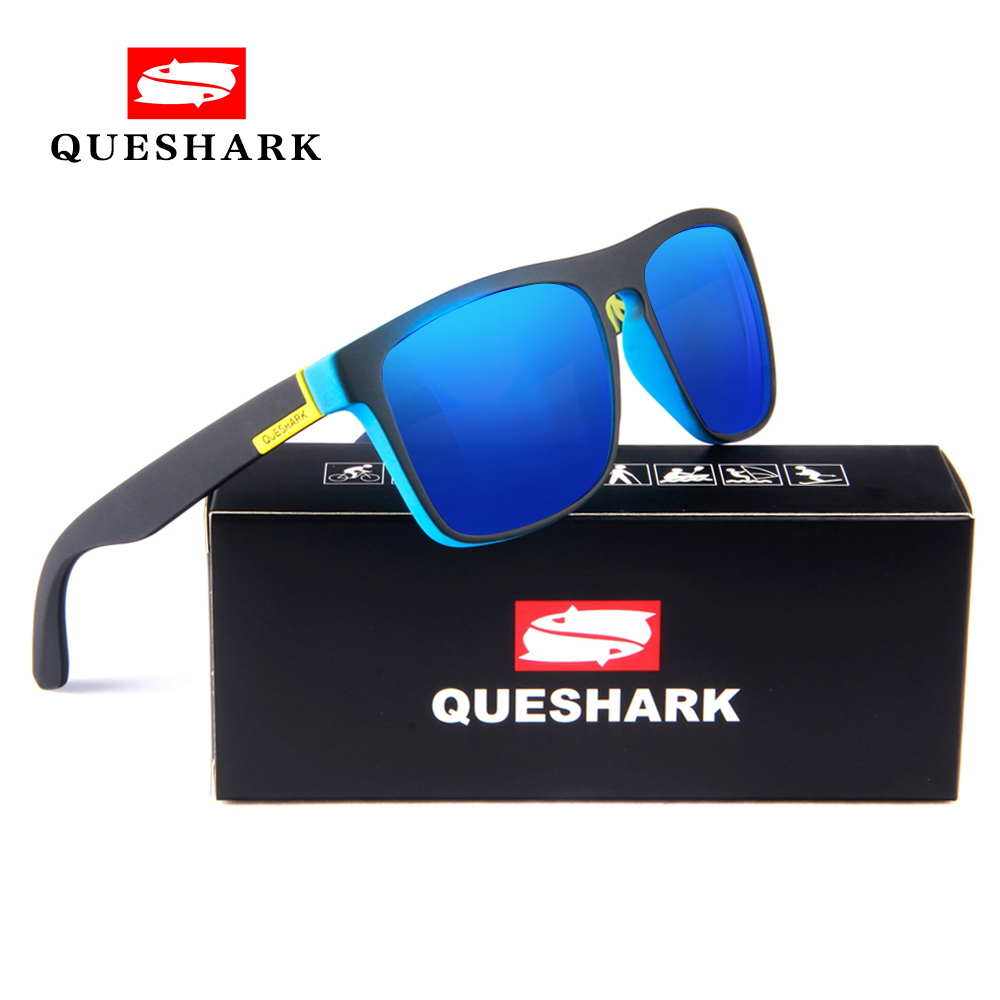 QUESHARK Cycling Polarized Sunglasses Printing TR90 Frame Bike Goggles Sports Camping Hiking Fishing Glasses Bicycle Eyewear oreka 999 fashion polarized tr90 frame resin lens sunglasses grass green