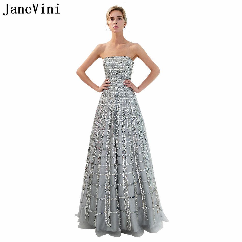 JaneVini Sparkly Grid Sequined Beading Grey Long   Bridesmaid     Dresses   A Line Strapless Tulle Pageant Prom Party Gowns Floor Length