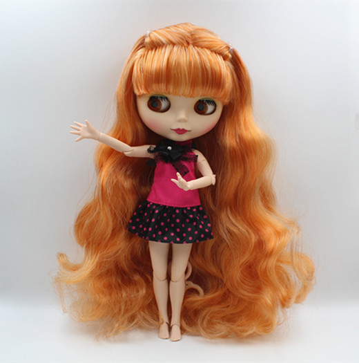 Blygirl Blyth doll Nude doll orange white bloody hair can close your eyes frosted face shell 1/6 more joints body doll DIY doll