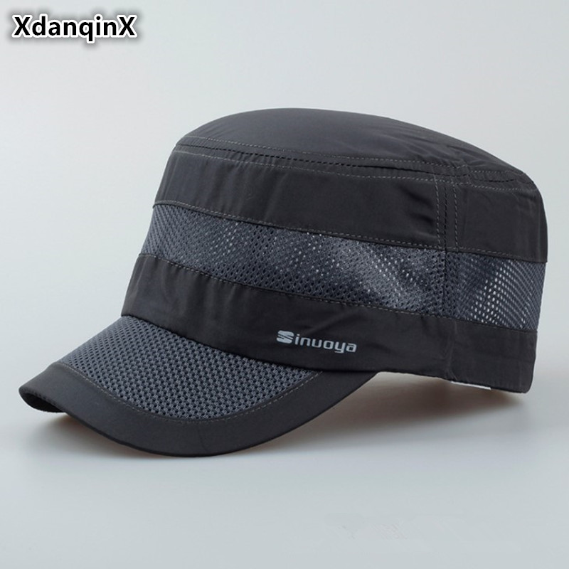 XdanqinX 2019 New Style Adult Men's Military Hats Summer Breathable Adjustable Head Size Flat Cap Outdoors Leisure Visor Hat