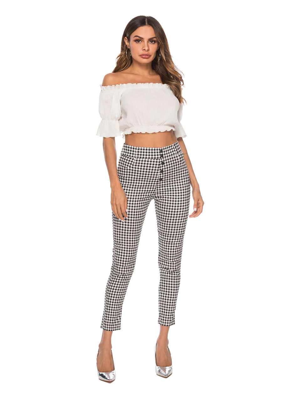 HTB1qMsEaiLrK1Rjy1zdq6ynnpXaP - Benuynffy Vintage Button High Waist Plaid Pants Summer Office Lady Workwear Trousers Women Elegant Side Zipper Pencil Pants