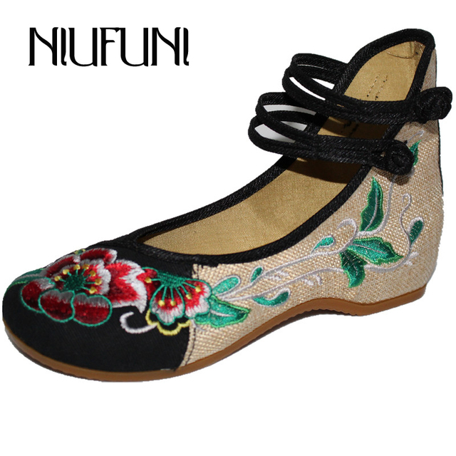 37d353a0f Old Beijing Cloth Shoes Women 2018 Plus Size 34-41 Height Increasing Flax Embroider  Flats Women Buckle Canvas Casual Shoes