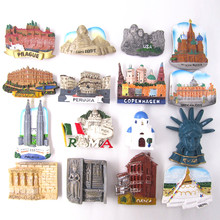 6Pcs Per Lot Hand Painted Fridge Magnet Set Souvenirs Italy Greece Egypt Resin Refrigerator Magnetic Sticker Home Decoration