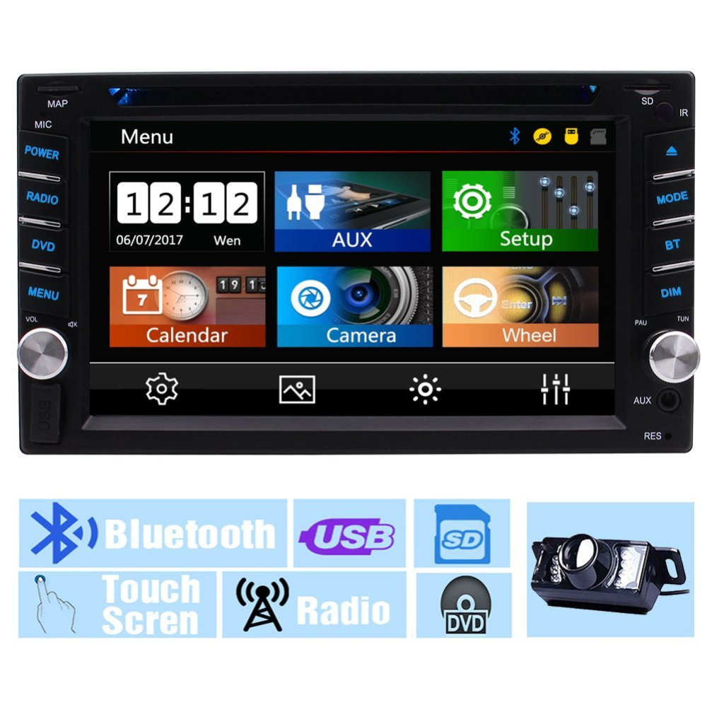 Double Din Car Radio Stereo In Dash 6.2'' Multi-Touch Screen Car DVD Player Car Stereo AM/FM Autoradio Bluetooth/1080P/steering joyous j 2611mx 7 touch screen double din car dvd player w gps ipod bluetooth fm am radio rds