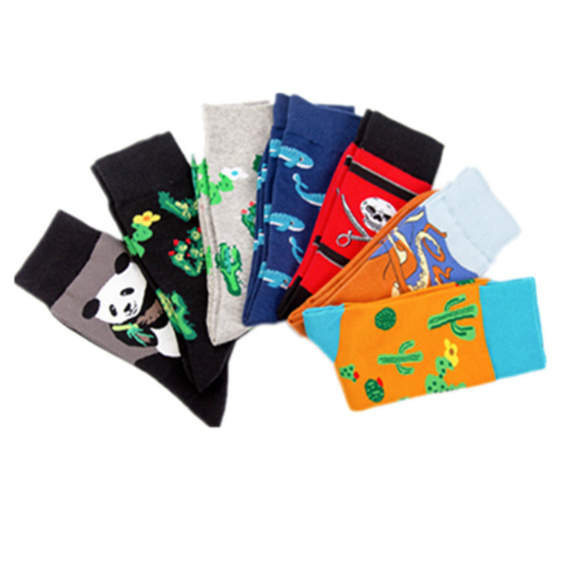 Men's Socks Beautiful Peonfly New Print Animals Plant Cute Cartoon Panda Octopus Whale Cactus Pattern Personality Pirate Flag Fashion Men Cotton Socks