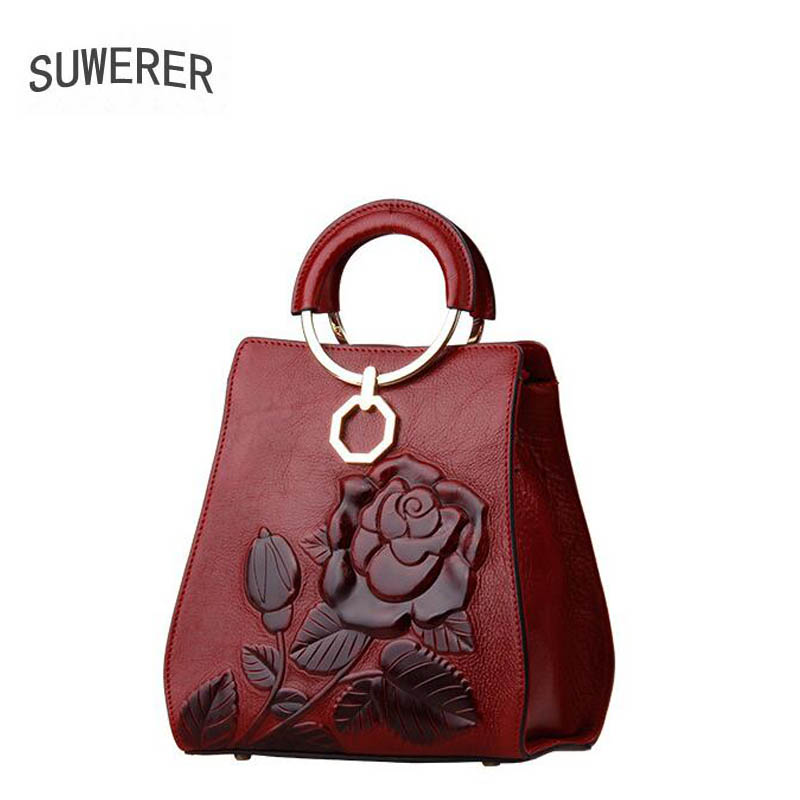 SUWERER new Genuine Leather women bags for women luxury handbags women bags rose Embossed women leather handbags suwerer new genuine leather women bags special craftsmanship fashion luxury handbags women bags designer women leather handbags