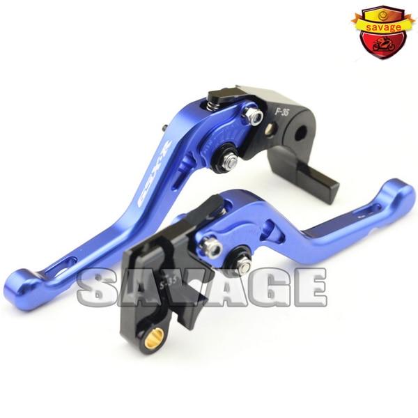 ФОТО For SUZUKI GSX-R 600/750 06-10, GSX-R1000 05-06 K5 K8 Blue Motorcycle CNC Billet Aluminum Short Brake Clutch Levers logo GSX-R