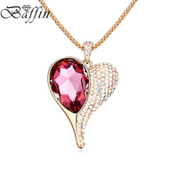 BAFFIN Long Chain Necklace Crystal Heart Pendant Maxi Collier For Women Mother's Day Gifts Made With Swarovski