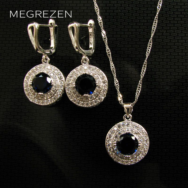 MEGREZEN Statement Jewelery Sets For Women Necklace And Earrings Set Ensemble De Bijoux Mariage Rhinestone Jewelery Ys002NE-4