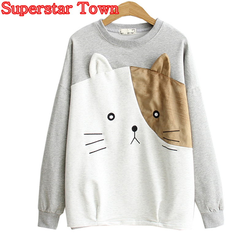 Harajuku Women Sweatshirts With Ears Cat Face Kawaii Clothes Lolita Anime Hoodie Female Plullover Lovely Mori Girls Cartoon