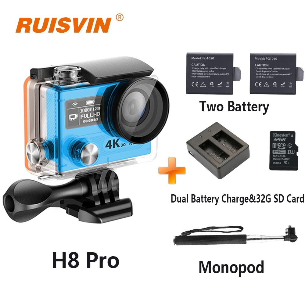 2016 Hot H8 Pro Action Camera Ultra HD 1080P 120fps Ambarella A12 go Sport 4K Camera H8pro Dual Screen Waterproof Sports DV Cam