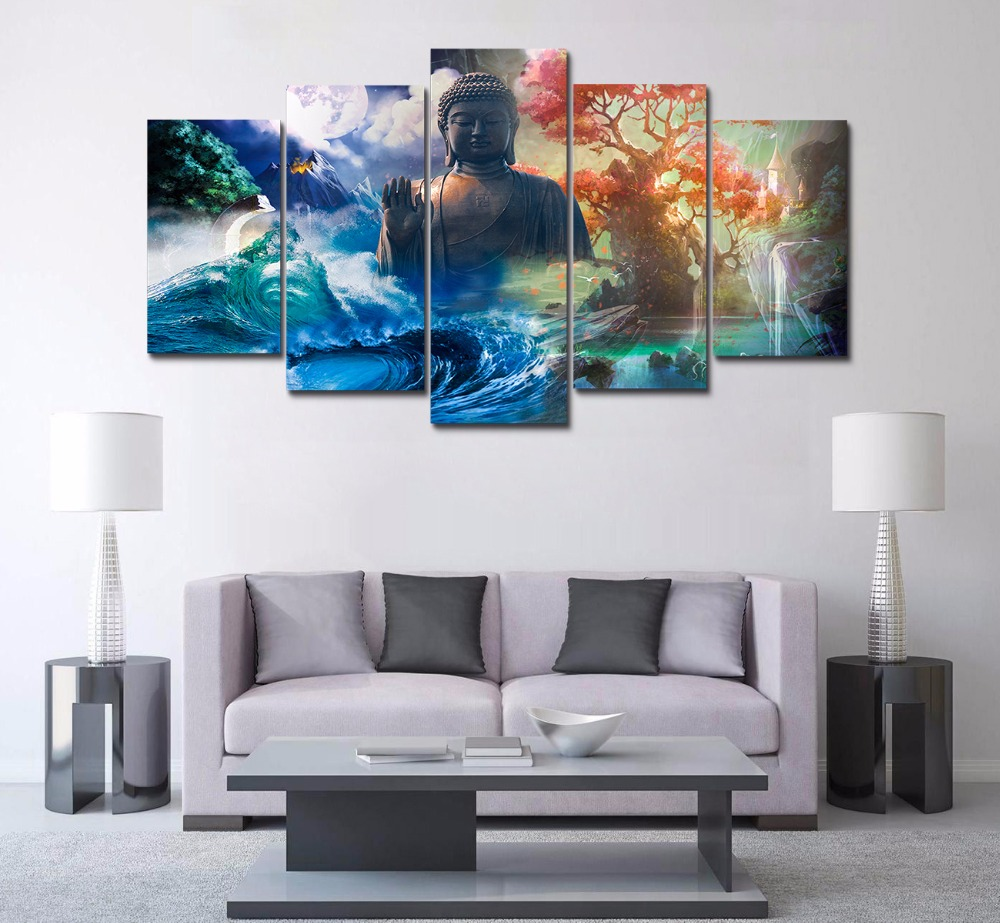 HD Print 5 Panels Feng Shui canvas wall art landscape Buddha Painting home decor wall art picture for living room decor