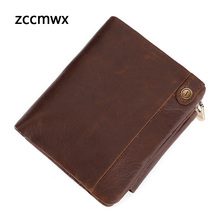 Zccmwx brand 2018 new business casual leather mens wallet fashion multi-card anti-magnetic clutch bag short coin purse