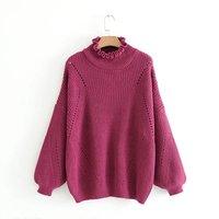 Vintage Loose Large Size Women Knitwear Sweater Thicken Turtleneck Lantern Sleeve Womens Pullovers Autumn Winter Fashion