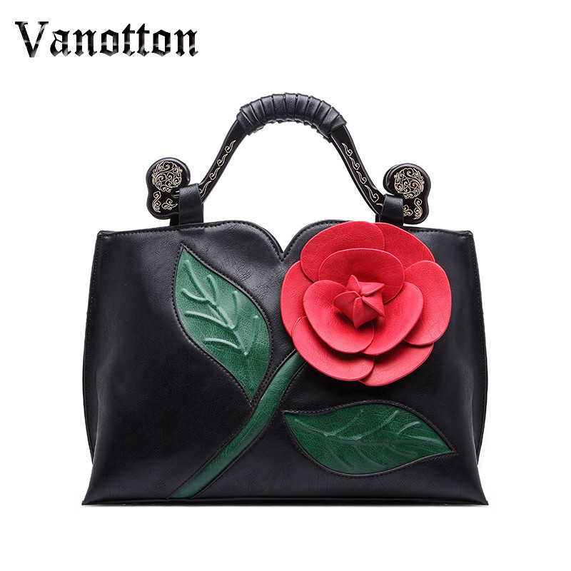 2018 brand spring new women tote bag with a flower bucket bag high quality PU leather handbag vintage shoulder messenger bags niuboa soft genuine leather women tote bag leather vintage brand work handbag new euro women bucket bag elegant shoulder bags