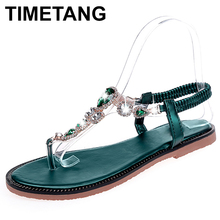 TIMETANG 2018 hot fashion Rhinestone summer women rubber sandals Slip-On Flat wi