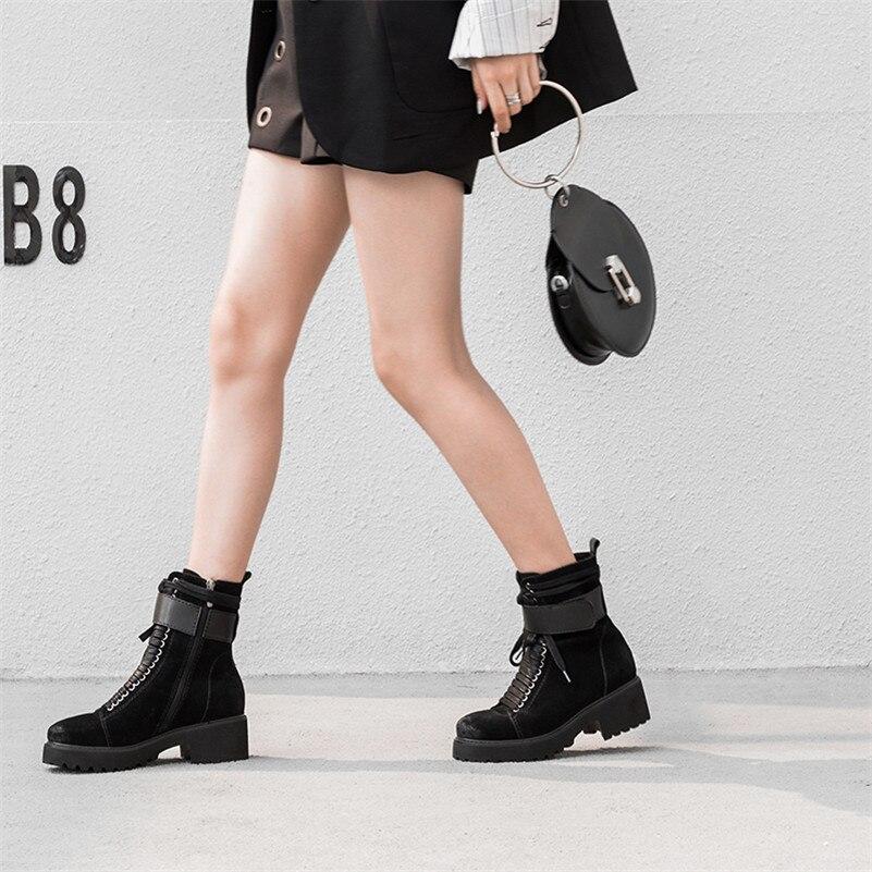 Court Vache Femme Moto Cheville Qualité Punk Femmes Talons Hauts Automne Conasco Chaussures Zipper Noir Martin Bottes Hiver Suede Uq8Fw7xR