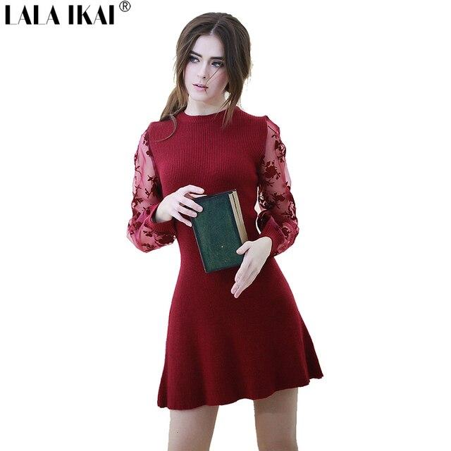 Rode Wollen Jurk.Retro Herfst Winter Mini Jurk Vrouwen Borduren Mesh Wijn Rode