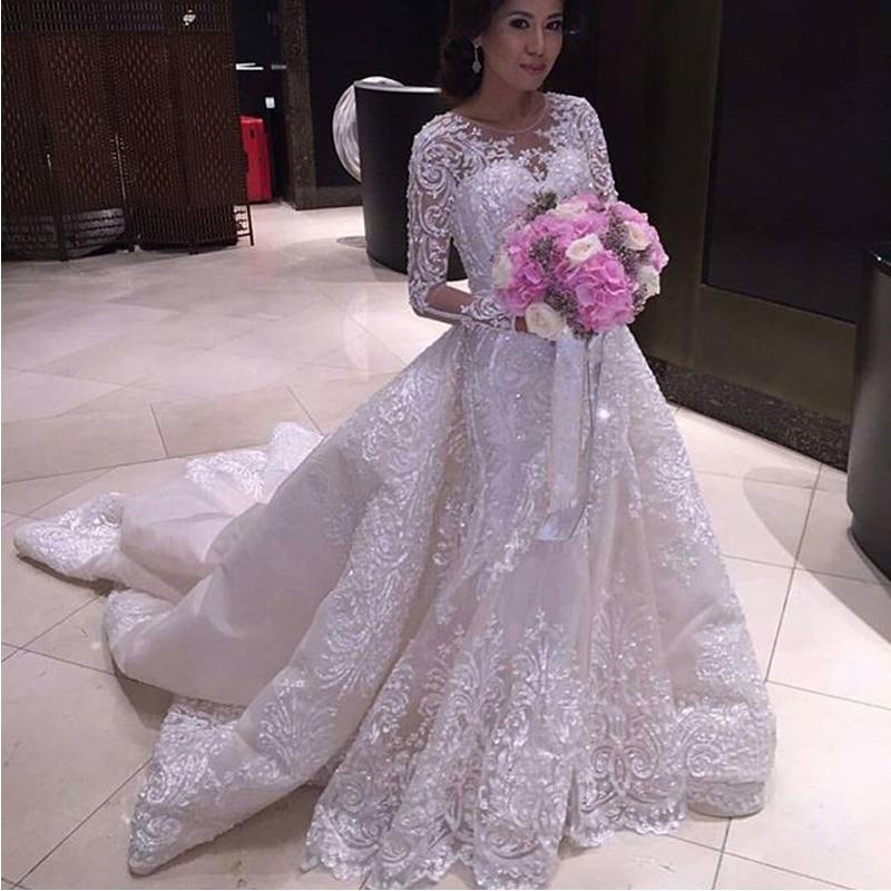 Luxury iiiusion crew neck muslim wedding dresses for Wedding dress detachable sleeves