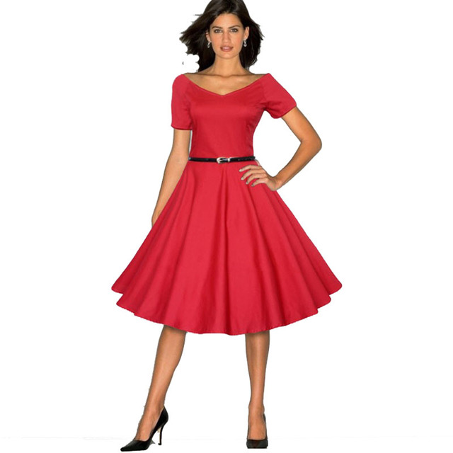 8e7d6e502d Wysokiej Jakości rozmiar rockabilly Styl Hepburn Miusol sukienka damska  Wycięty Dekolt W Stylu Vintage Casual 50