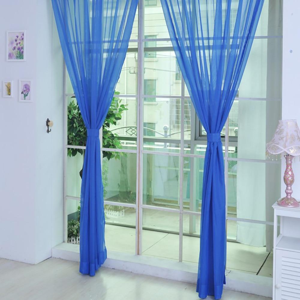1 StÜcke Reine Farbe Tulle Modernen Türfenstervorhang Drapieren Panel Sheer Schal Volants Offen Translucidus Wohnkultur 23may 7