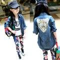 Kids Girls Clothing Sets Autumn 2016 New Tiger Pattern Denim Jacket & T-Shirt & Floral Pants 3 Pcs Girl Tracksuit Girls Clothes