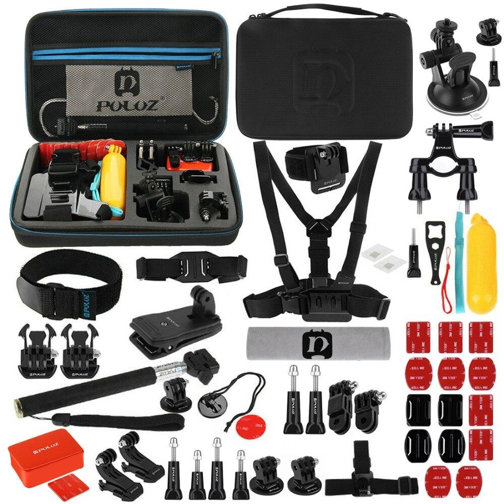 53 en 1 accessoires Total pour Gopro avec étui EVA sangle de poitrine + support ventouse + bras pivotants à 3 voies pour caméra GoPro Hero 7 6 5