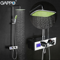 GAPPO Brass bath tub faucet wall mounted bathroom luxury LCD digital display shower mixer tap set bathtub faucet waterfall