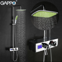 GAPPO Brass Bath Tub Faucet Wall Mounted Bathroom Luxury LCD Digital Display Shower Mixer Tap Set